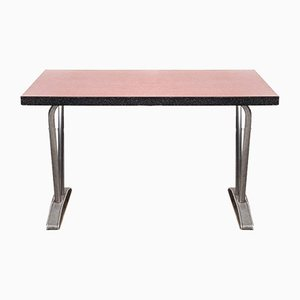 French Rectangular Red Laminate Dining Table with Aluminum Base, 1960s