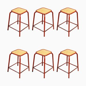 Vintage French Red Stacking Laboratory Stools from Mullca, 1960s, Set of 8