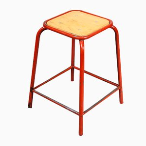 Vintage French Red Stacking Laboratory Stools from Mullca, 1960s, Set of 4