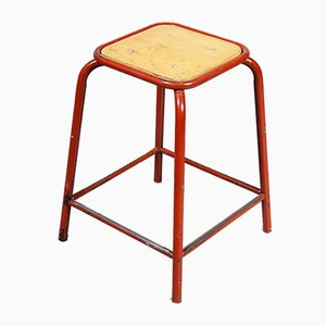 Vintage French Red Stacking Laboratory Stool from Mullca, 1960s