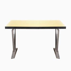 French Rectangular Yellow Laminate Model 779.1 Dining Table with Aluminum Base, 1960s