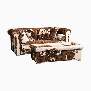 Set of Brown and White Cow Fur Leather Sofa and Ottoman by Baxter, Italy, 1990s