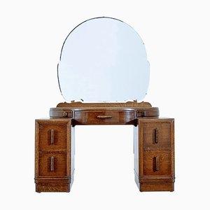 Coiffeuse Art Déco en Chêne avec Miroir