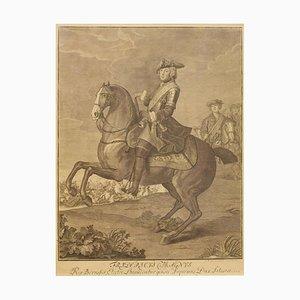 Johann David Schleuen, Equestrian Portrait of Frederick the Great, 1 Sheet Copper Engraving, Mid-18th Century