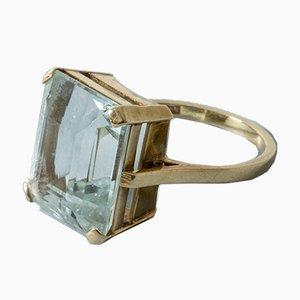 Schwedischer Mid-Century Ring in Gold & Aquamarinblau