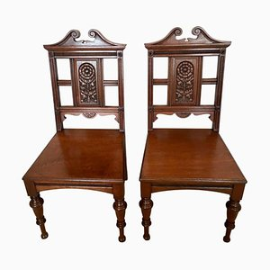 Antique Carved Walnut Hall Chairs by Simpson & Sons, Halifax, Set of 2