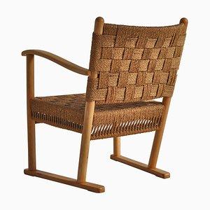Lounge Chair in Beech & Woven Seagrass by Karl Schrøder for Fritz Hansen, 1940s