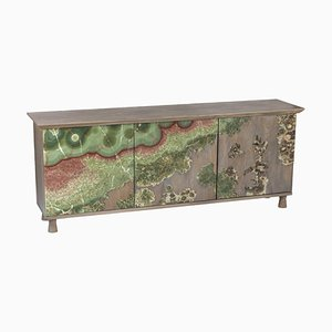 Unique Onyx on Oak Nature Cabinet Sculpted by Francesco Perini
