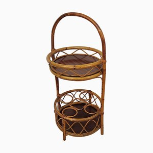 Italian Round Bamboo and Rattan Bar Table by Franco Albini, 1960s