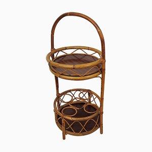 Runder Italienischer Bambus und Rattan Tisch von Franco Albini, 1960er