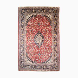 Floral Rust-Red Keshan Carpet with Border and Medallion