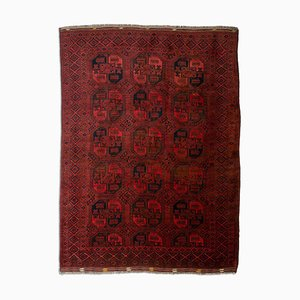 Geometric Wine-Red Afghan Carpet with Border and Diamonds
