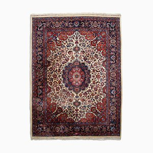 Floral Beige Meshed Carpet with Border and Medallion