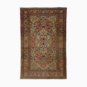 Antique Floral Old Pink Isfahan Carpet with Border and Medallion