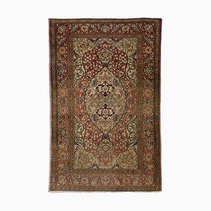 Floraler altrosa Vintage Isfahan Teppich mit Bordüre und Medaillon