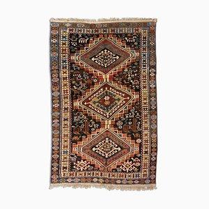 Geometric Dark Gray Shirvan Carpet with Border and Diamonds