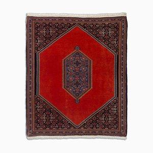 Geometric Rust-Red Bijar Carpet with Medallion and Border