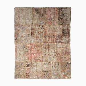 Vintage Modern Patchwork Teppich in Beige