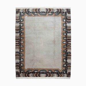 Geometric Light Gray Nepal Carpet with Border