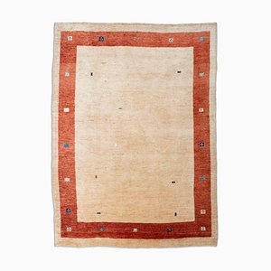 Beige Gabbeh Carpet with Plain Border and Motif