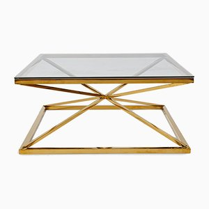 Brass Coffee Table with Star-Shaped Frame