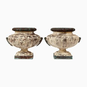 19th Century French Cast Iron Urns, Set of 2