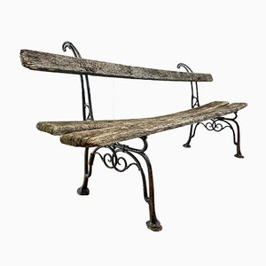Antique French Arras Style Cast Iron and Oak Vineyard Garden Bench