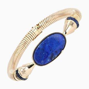 Lapis Lazuli & Sapphire 18 Karat Yellow Gold Tubogas Bracelet, 1940s