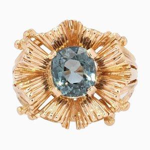 French Natural Spinel Cushion 18 Karat Rose Gold Ring, 1960s