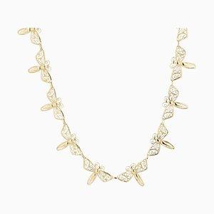 Französische 18 Karat Gelbgold Schmetterling Halskette, 1900er