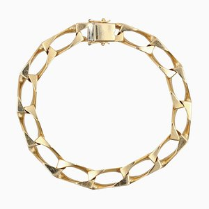 French 18 Karat Yellow Gold Filled Gourmette Bracelet, 1960s