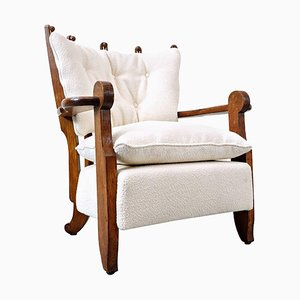 Mid-Century Modern White Fabric Armchair by Guillerme Et Chambron