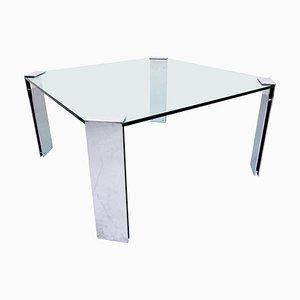 Tavolo da pranzo Mid-Century moderno in acciaio e vetro, Italia, anni '60