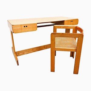 Desk and Cane Armchair by Derk Jan De Vries, 1980s