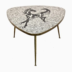 Mosaic and Brass Coffee or Side Table by Berthold Müller, 1960s