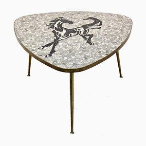 Mosaik und Messing Couch- oder Beistelltisch von Berthold Müller, 1960er