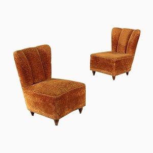 Armchairs in Velvet, Italy, 1940s, Set of 2