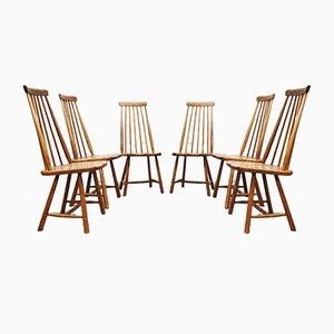 Niederländische Vintage Esszimmerstühle mit spindelförmigen Rückenlehnen von Pastoe, 6er Set