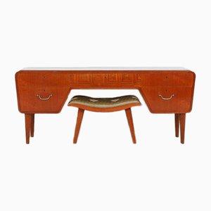 Niedriges Schwedisches Modernes Sideboard oder Sideboard mit Hocker, 1950er