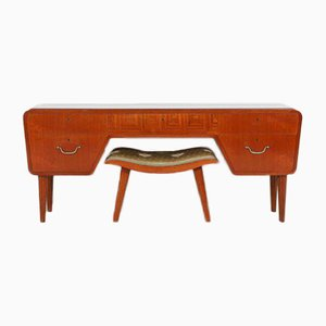 Swedish Modern Low Board or Sideboard with Stool, 1950s