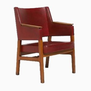Architectural Danish Modern Armchair by Kay Fisker, 1950s