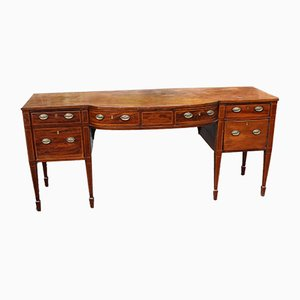 Large Bow Front Mahogany Sideboard with Inlay, 1830s