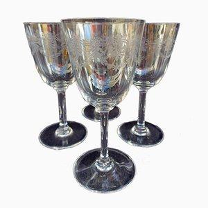 Copas de vino Beauharnais de cristal de Baccarat, años 20. Juego de 4