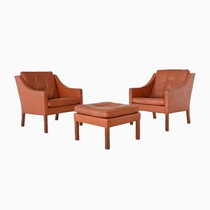 Lounge Chairs and Ottoman by Børge Mogensen for Fredericia, Denmark, 1963, Set of 3