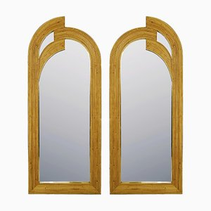 Brass and Bamboo Mirrors, Set of 2