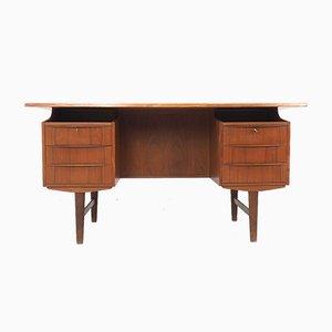 Dänischer Teak Schreibtisch mit Barfach, 1960er