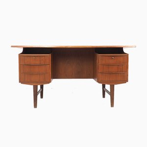 Danish Teak Writing Desk with Bar Section, 1960s