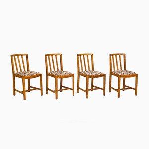 Oak Dining Chairs, 1930s, Set of 4