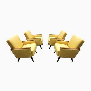 Mid-Century Danish Loungers Club Chairs in Yellow, 1960s, Set of 4