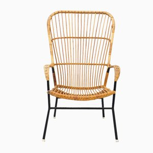 Vintage Rattan Chair with High Back from Rohé Noordwolde, 1950s